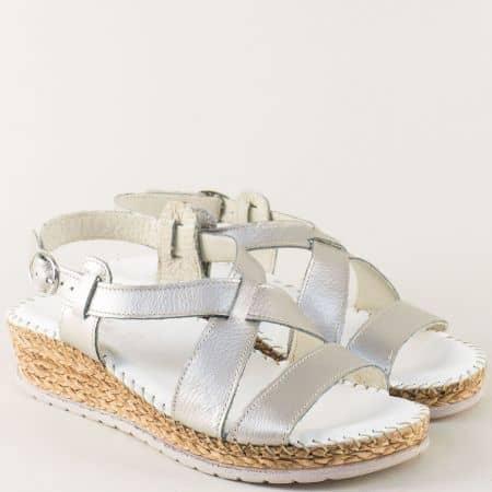 Шити дамски сандали от естествена кожа в сребро 1492711sr