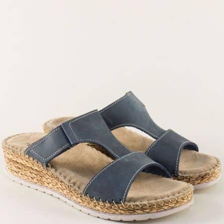 Анатомични дамски чехли на платформа в син цвят 1492716ns