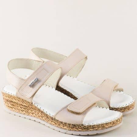 Бежови дамски сандали с кожена стелка и две лепки 1492719bj