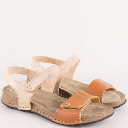 Българдски дамски сандали от естествена кожа в кафяв и бежов цвят 14930bjk