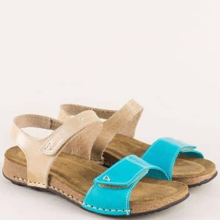Равни дамски сандали в бежово и синьо с две лепки 14930bjs