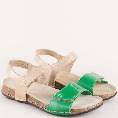 Кожени дамски сандали на равно ходило в бежов и зелен цвят 14930bjz
