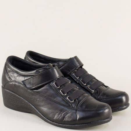 Черни дамски обувки на клин ходило с лепка и ластик 15000ch