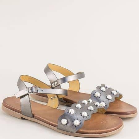Бронзови дамски сандали на равно ходило- MAT STAR 150081brz