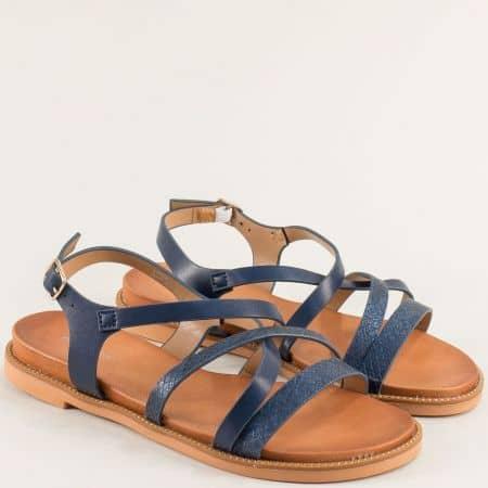 Дамски сандали в тъмно син цвят на равно ходило- MAT STAR 150085s