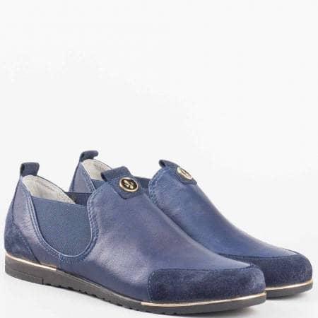 Дамски обувки от естествена кожа с два ластика на български производител в син цвят 1501455ts