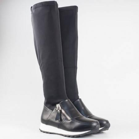 Дамски спортно-елегантни ботуши в комбинация от стреч и еко кожа на марката Mat star в черен цвят 15071088ch