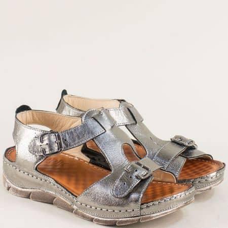Бронзови дамски сандали от естествена кожа с катарами 1508488brz
