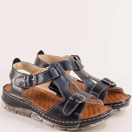 Черни дамски сандали от естествена кожа с две катарами 1508488ch