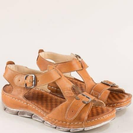 Кафяви дамски сандали с две катарами на шито ходило  1508488k