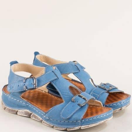 Кожени дамски сандали на платформа в син цвят 1508488s
