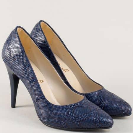 Дамски обувки на висок ток със змийски принт в син цвят 1510zs