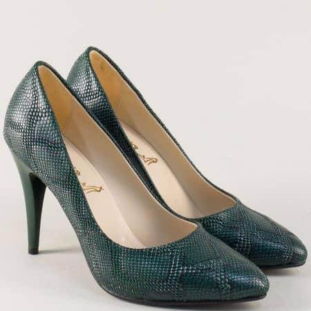 Зелени дамски обувки на висок ток със змийски принт 1510zz