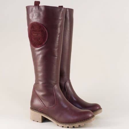 Дамски ботуши от естествена кожа и каучук в цвят бордо 15181044bd