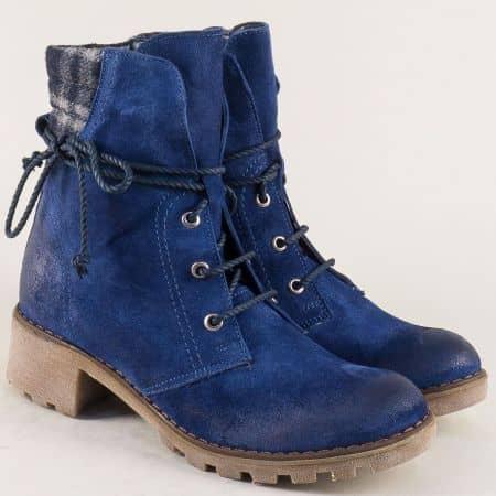 Сини дамски боти на нисък ток с грайфер и топъл хастар 15181049vs