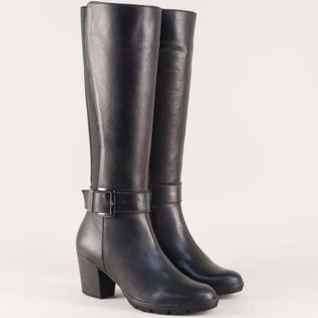 Черни дамски ботуши от естествена кожа на среден ток 15182ch