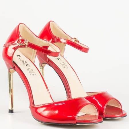 Стилни дамски сандали в червен цвят на луксозен висок ток- Eliza със стелка от естестевена кожа 1522801chv