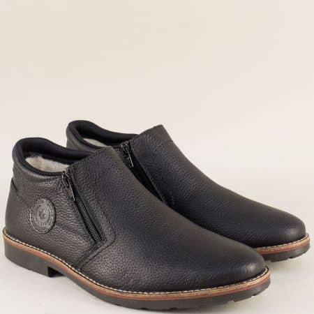 Кожени мъжки боти Rieker на комфортно ходило в черен цвят 15399ch