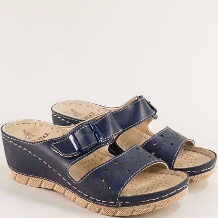 Дамски чехли в син цвят на платформа- MAT STAR 154004s