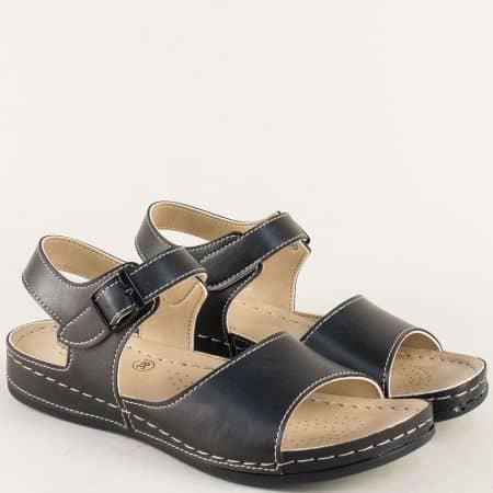 Черни дамски сандали с каишка около глезена на комфортно ходило 154012ch