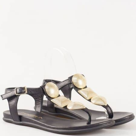 Черни дамски сандали между пръстите от естествена кожа 15401ch