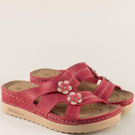 Червени дамски чехли на анатомично ходило 154024chv