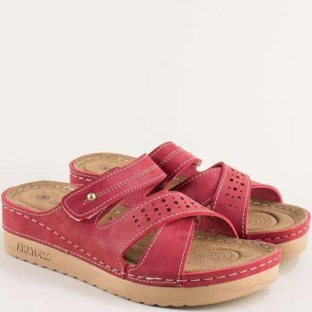 Червени анатомични дамски чехли на платформа с велкро закопчаване  154035chv