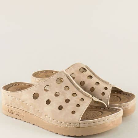 Анатомични дамски чехли в бежов цвят 154038bj