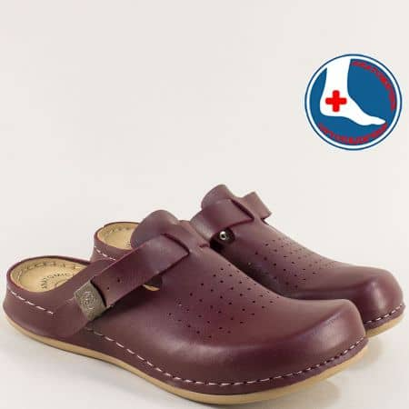 Анатомични дамски чехли с перфорация в цвят бордо 154063bd