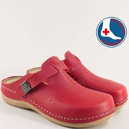 Червени дамски чехли с перфорация и затворени пръсти 154149chv