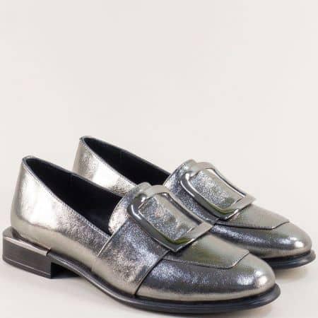 Бронзови дамски обувки от естествена кожа и сатен 1541brz