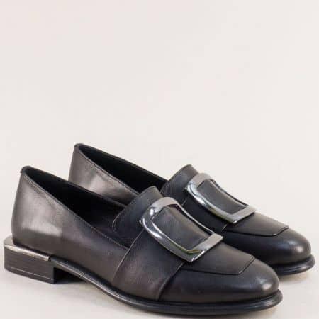 Кожени дамски обувки с декорация в черен цвят 1541ch