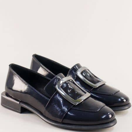 Дамски обувки от естествен лак в син цвят 1541ls