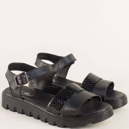 Дамски сандали от черна естествена кожа и лак с катарама 15445939ch