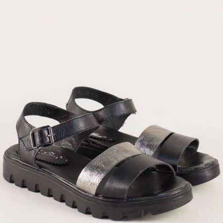 Български дамски сандали в черно и бронз с кожена стелка 15445939chbrz