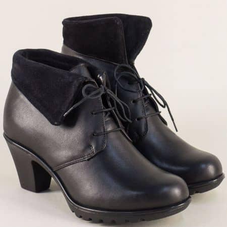 Черни дамски боти от естествена кожа и велур на среден ток 1544739ch