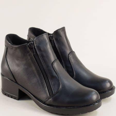 Ежедневни дамски боти от естествена кожа в черно с два ципа 1556658ch