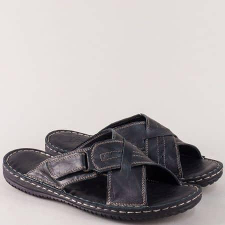 Шити мъжки чехли с лепка от черна естествена кожа 1557ch