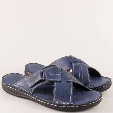 Шити мъжки чехли от естествена кожа в син цвят 1557s