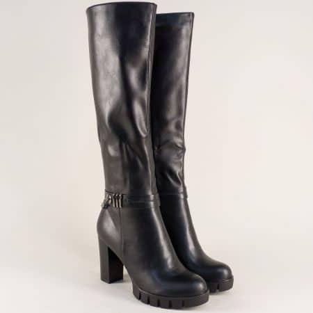 Черни дамски ботуши на комфортно ходило с висок ток 156075ch