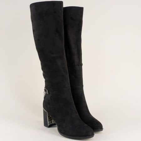 Дамски ботуши на висок ток в черен цвят 156077vch