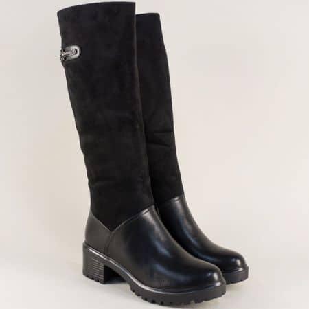 Дамски ботуши с цип и ластик в черен цвят на среден ток 156079vch