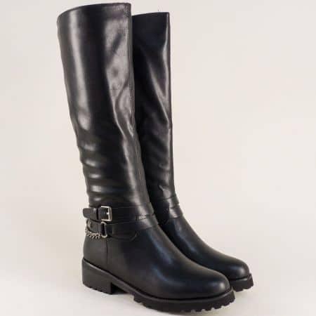 Дамски ботуши на комфортно ходило с нисък ток в черен цвят 156082ch