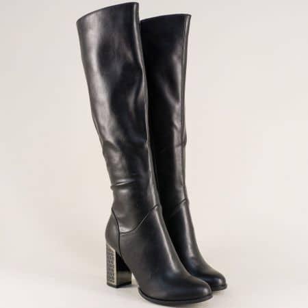 Стилни дамски ботуши на висок ток в черен цвят 156091ch