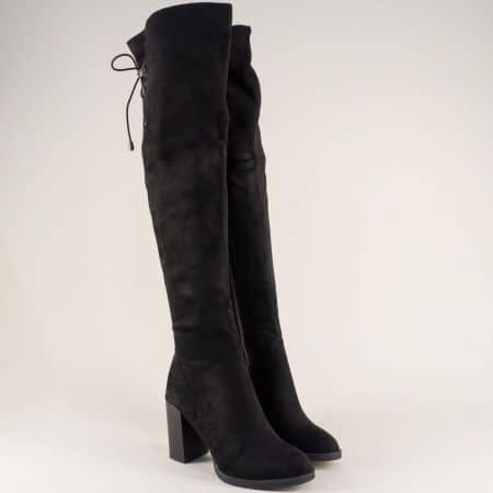 Стилни дамски ботуши на висок ток в черен цвят 156092vch