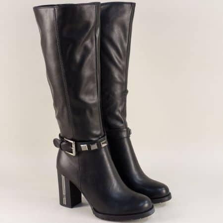 Стилни дамски ботуши на висок ток в черен цвят  156133ch