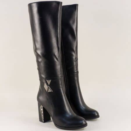 Черни дамски ботуши на ефектен висок ток от еко кожа  156143ch