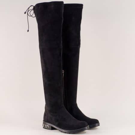 Черни дамски ботуши тип чизма на нисък ток от велур 156164vch