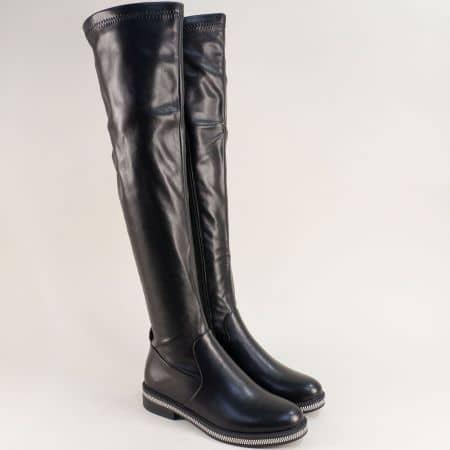 Дамски ботуши над коляното в черен цвят- MAT STAR 156223ch