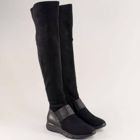 Дамски ботуши над коляното с декорация в черен цвят 156229nch